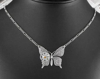Compass Butterfly Silver Necklace - Flight of the Travelling Butterfly by COGnitive Creations