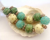 10 Hollow Beads and 11 Spacers Handmade Lampwork