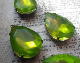 Frosted Neon Green Glass in Oxidized Brass Settings 25X18mm Pear Pendants 4 Pcs