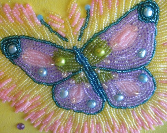 Wall art, Bead embroidered Butterfly, Beaded Painting
