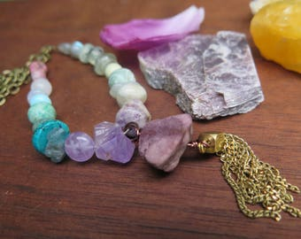 Long Tassel Stone Necklace - Beaded Crystal Jewelry - Gypsy Mystical - Bohemian Free Spirit Good Vibes - Ombre Purple Turquoise Green Pink