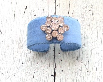French Blue Adjustable Cuff with Rhinestones