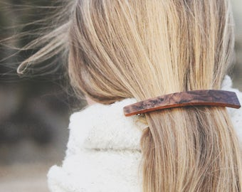 Prairie Barrette | Long Assymetrical Barrette | long geometric wood hair clip | french barrette | Walnut Burl