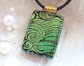 Green Pendant, Fused Dichroic Glass Pendant, Necklace, Glass Jewelry, Gold, Necklace Included, A12