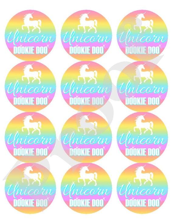 Unicorn Dookie Doo Stickers Unicorn Party Unicorn Labels