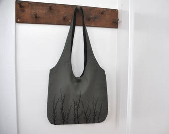 Pussy Willows - Shoulder Bag - Button Closure Hobo Bag in Grey-Green with Black