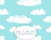 "Modern Vinyl Backdrop 5ft x 5ft, Modern Clouds Photo Backdrop, Photo Booth backdrop, Studio Photography Childrens Prop ""Stamped Clouds"""