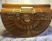 Vintage 50s 60s Half Round Slatted Bamboo Basket Purse