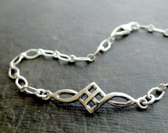 Celtic bracelet, Sterling Silver, marquise chain, knot jewelry