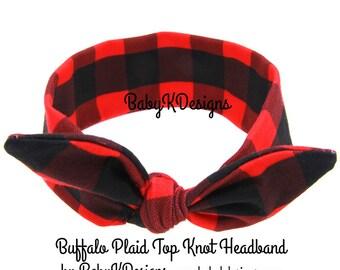 Newborn Baby Girl Christmas Plaid Headband Headwrap Checkered Red Black Top Knot Messy Bow Infant Toddler Girl Cotton Turban Buffalo Plaid