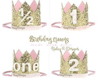 First Birthday Crown | 1st Birthday Girl Cake Smash | 1/2 Birthday | Baby Girl First Birthday Outfit | 1st 2nd Birthday Hat Gold Baby Pink