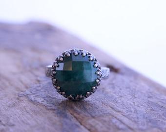 Green Emerald Sterling Silver Ring - May birthstone gemstone ring