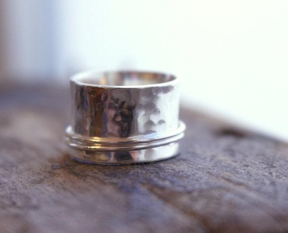 Sterling Silver Spinner Ring - Wide Band Ring, Meditation Ring SR105