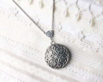 Silver Locket Necklace - Silver Victoriana Romantic Locket - Jewelry by BirdzNbeez - Mother's Day Wedding Bridal Birthday