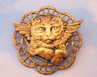 CAT GUARDIAN ANGEL Brooch Pin. Kitten Angel with Wings. Cat Lovers Vintage Style Jewelry. Pet Loss Memorial Remembrance