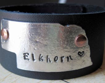 Personalized Nebraska Cuff - Nebraska Cuff - Nebraska Jewelry - Nebraska Native - Nebraska Bracelet - Nebraska Gifts - Nebraska Girl