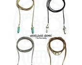 SALE BUILD YOUR Own Healing Gem wrap choker necklaces in black, tan, gold or silver vegan suede. Gemstone hexagon double points in gold or s