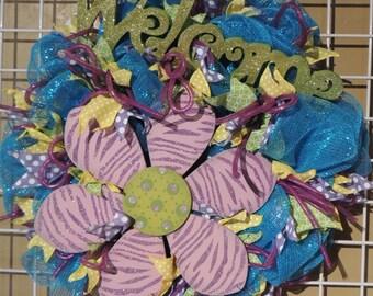 Funky Flower Wreath, Front Door Wreath, Welcome Wreath, Mesh Wreath for Front Door