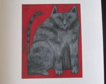 Signed print from original painting  GRAY TABBY on RED by  Southwestern Ontario Artist Ellen Haasen