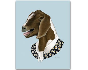 Goat Lady animal print - modern kids art - unique baby gift - animals in clothes - animal artwork  - year of the goat - by Ryan Berkley 5x7