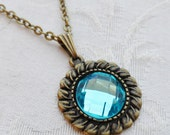 75% Off Sale Aqua Blue Faceted Glass Necklace