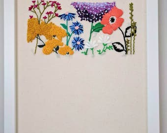 Embroidered floral scene. Flower embroidery. Embroidery art.