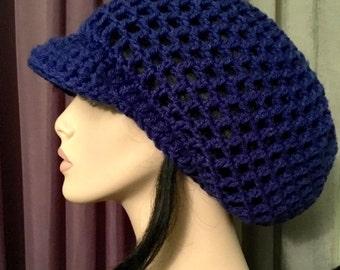 Mens Womens Slouchy Hat  Blue Brimmed Mens Womens Dreads Rasta Slouchy Hat Dreadlocks