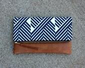 Blue Zig Zag Modern Foldover Clutch / Kindle Case