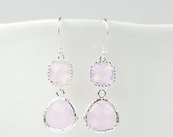 Long Pink Opal Silver Earrings, October Birthstone Silver Earrings, October Pink Earrings, October Birthstone Jewelry, Bridesmaid Gift