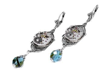 Steampunk Jewelry Steampunk Earrings Vintage Silver ART DECO Watch AQUA Crystals Dangle Earrings Bridal, Mothers Day - Jewelry by edmdesigns