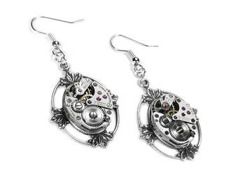 Steampunk Earrings, Steampunk Jewelry Vintage Watch Silver LOTUS LEAF Design - Anniversary, Mothers Day, Everyday - Jewelry by edmdesigns