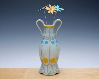 Bud vase in Frost gloss w. Tangerine and Sky blue polka dots & Navy detail, Victorian modern Home decor