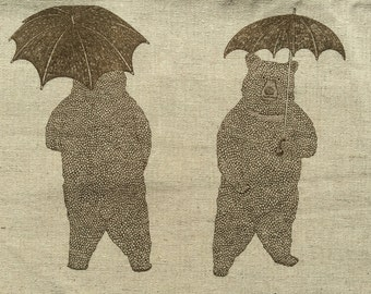Bears and Umbrellas natural beige and brown Japanese cotton linen canvas