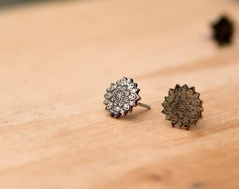 Etched Mandala Stud Earrings
