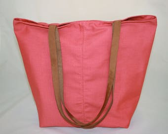 Tote Bag with Leather Straps in Coral