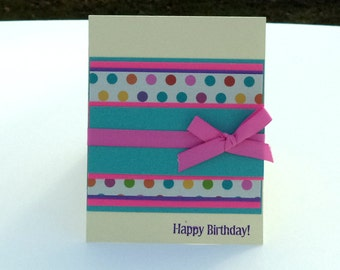 Birthday Card, Card for Adults, Polka Dot Birthday Card, Happy Birthday Card, Handmade Greeting Card