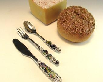 Appetizer Fork, Spoon, and Knife/Set of 3 Beaded Knife Fork and Spoon/Beaded Hors'dourve Utensils