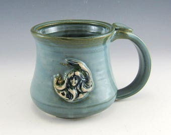 Goddess Coffee Mug/Goddess Coffee Mug in Garden Earth Blue Glaze 8-10 Ounces