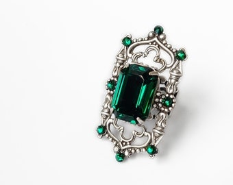 Green Gothic Ring with Emerald Swarovski Crystal on Oxidized Silver Filigree // Victorian Gothic Jewelry // Statement Cocktail Purple Ring