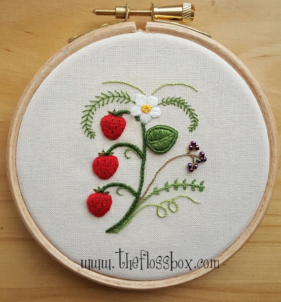 Strawberries Embroidery Pattern Collection From Theflossbox On Etsy