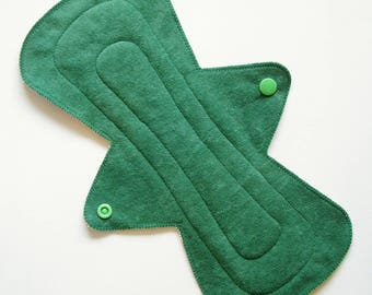 """11"""" Heavy Suedecloth Cloth Menstrual Pad, Green City Blue Cars Buildings, Incontinence Pad, Flared Contoured Cloth San Pro CSP Plus Size Pad"""