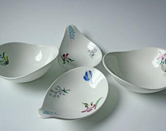 4 piece vintage Hallcraft bowls Eva Zeisel design