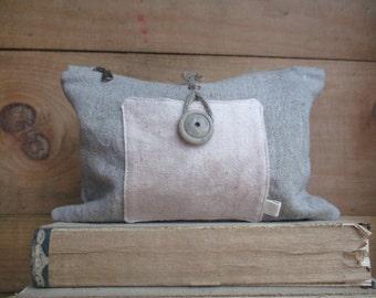 Linen Hemp Prairie fashion Clutch Zipper Bag makeup pouch catchall toiletry storage bag Boho Preppy Modern Mom Classic cosmetic case diaper