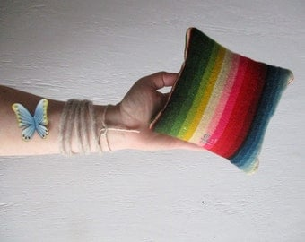 Wool Pillow Saltillo Home decor Boho mini Rustic Hippie shelf cushion Rainbow Gypsy Serape Nomad Folksy Travel Pillow Interior Style