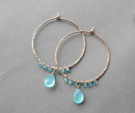Rose Gold Hoops, Beaded Gemstone Hoop Earrings, Crystal Aqua Chalcedony Wire Wrapped Hoops