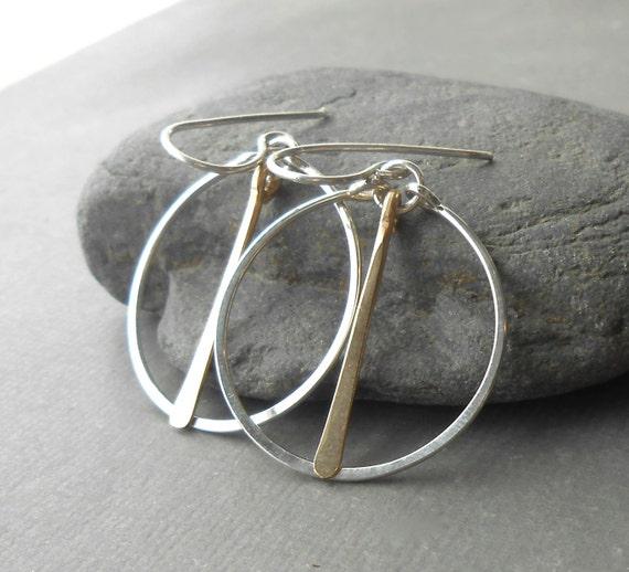 Minimalist Silver Hoop Earrings, Sterling Silver Gold Filled Dangle Hoops