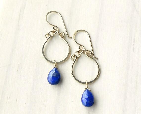 Lapis Lazuli Earrings, Gold Filled Dangle Drop Earrings