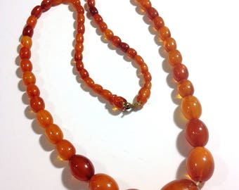 Vintage Baltic Amber Long Graduated Bead Necklace