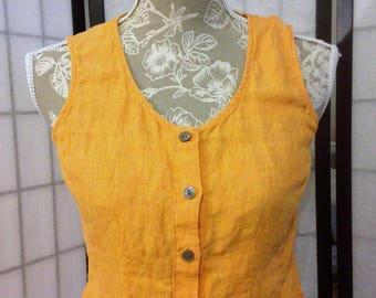 Orange Linen Sleeveless BLouse size XS by J Jill 90s