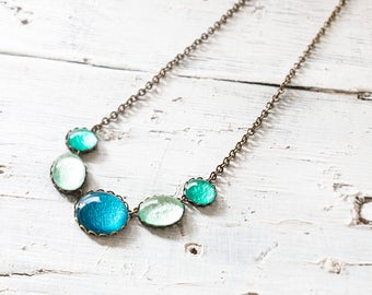 Blue. Aqua green and Teal Necklace, Statement Necklace , Minimalist Necklace, Colorful Necklace, Glass Dome Necklace, Bib necklace